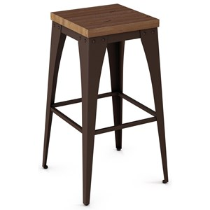 "30"" Upright Stool with Wood Seat"
