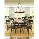 Amisco Kai Dinette Round Dining Table with Interlaced Metal Pedestal Base - Shown with Kyle Chairs