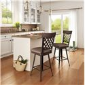 Amisco Stools Cottage Wicker Counter Stool with Wood Accent