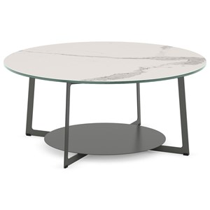 Customizable Round Malloy Coffee Table with Marble-Look Top and Circular Shelf
