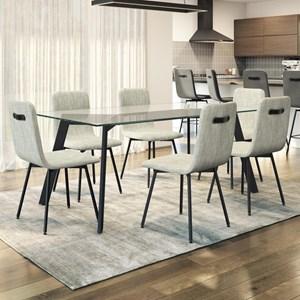 7-Piece Lidya Table Set with Glass Top
