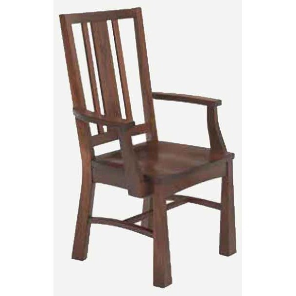 Arts and Crafts Arm Chair - Wood Seat by Amish Impressions by Fusion Designs at Mueller Furniture