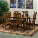 Indiana Amish Franklin Dining Side Chair with Slat Back - Shown with Dining Table and Arm Chairs