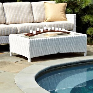 Atlantis Outdoor Coffee Table with Inset Glass Top by Anacara Company