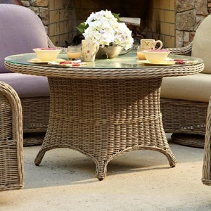 Mariner Round Chat Table with Tempered Glass by Anacara Company