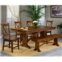APA by Whalen Cornwall Wood Trestle Bench - Bench Shown in Room Setting with Table and Side Chairs