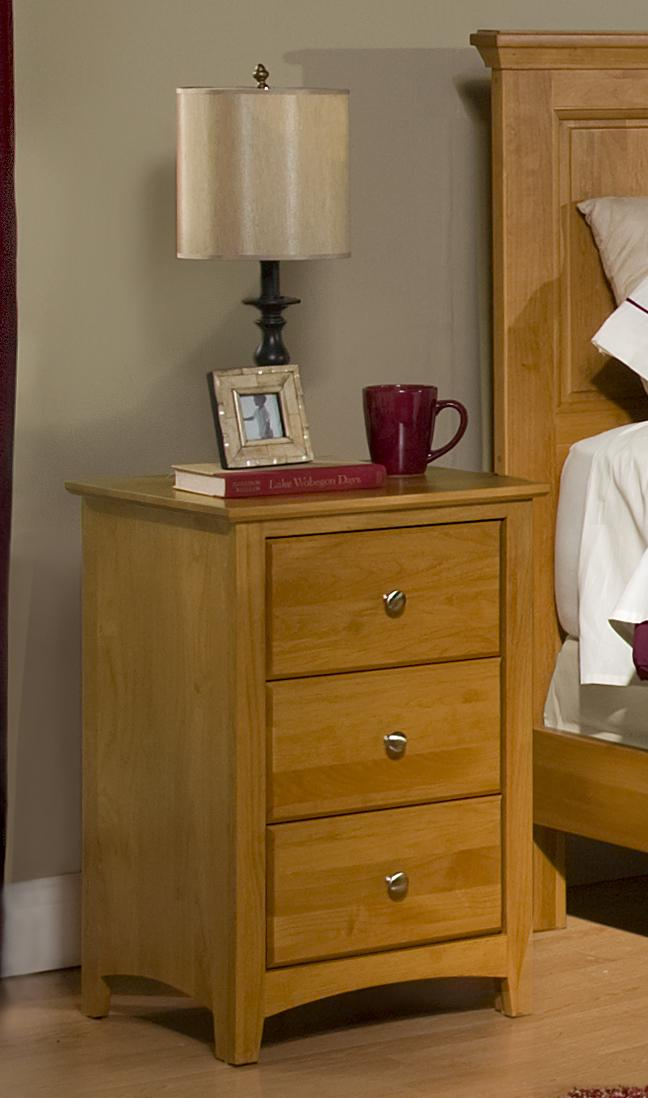 Alder Shaker - Honey 3 Drawer Nightstand by Archbold Furniture at Steger's Furniture
