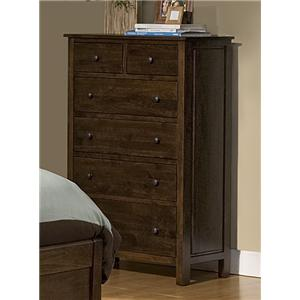 Archbold Furniture Alder Heritage - Brown Mahogany 6 Drawer Chest With Blanket Drawer