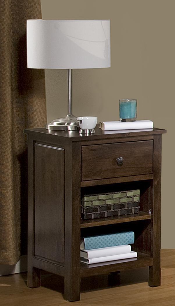 Alder Heritage - Brown Mahogany 1 Drawer Nightstand by Archbold Furniture at Steger's Furniture