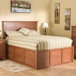 Archbold Furniture Alder Shaker Queen Flat Panel Chest Bed