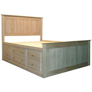 Archbold Furniture Alder Shaker King Flat Panel Chest Bed
