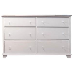 6 Drawer Dresser in 2 Tone Finish