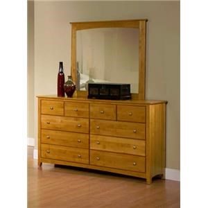 Dresser with 10 Drawers and Mirror