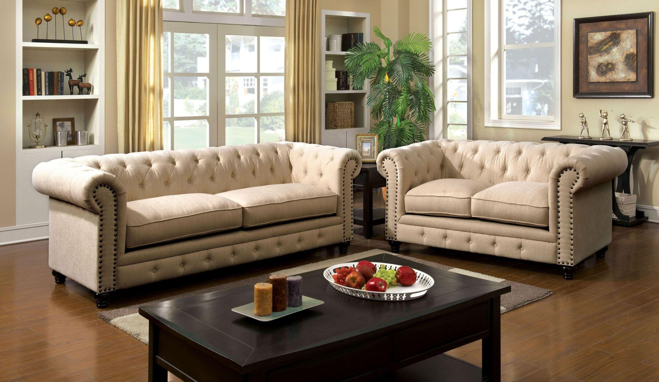 Furniture of America / Import Direct Stanford Sofa & Love Seat - Item Number: CM6269IV-SF+CM6269IV-LV