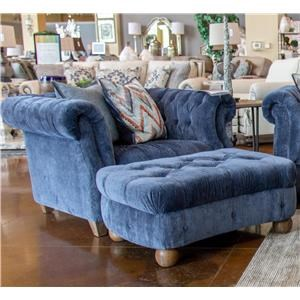 Aria Designs Kendall Blue Velvet Chair & Ottoman