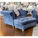 Aria Designs Kendall Blue Velvet Chair & Ottoman - Item Number: GRP-45 A133-C O