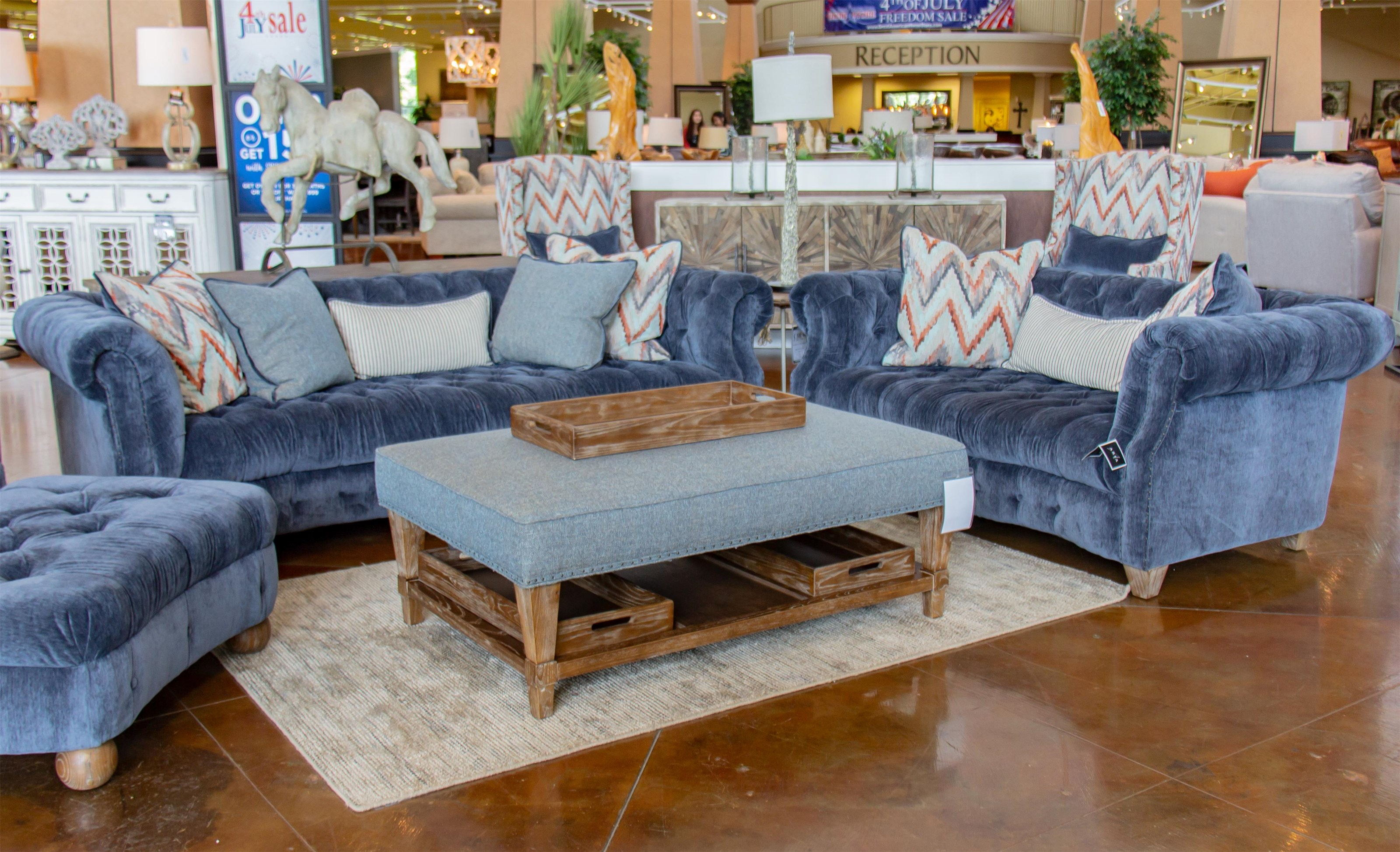 Aria Designs Kendall Blue Velvet Sofa & Loveseat - Item Number: GRP-45 A133-S L