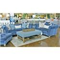 Aria Designs Kendall Blue Velvet Sofa & Loveseat - Item Number: GRP-45 A133-S L