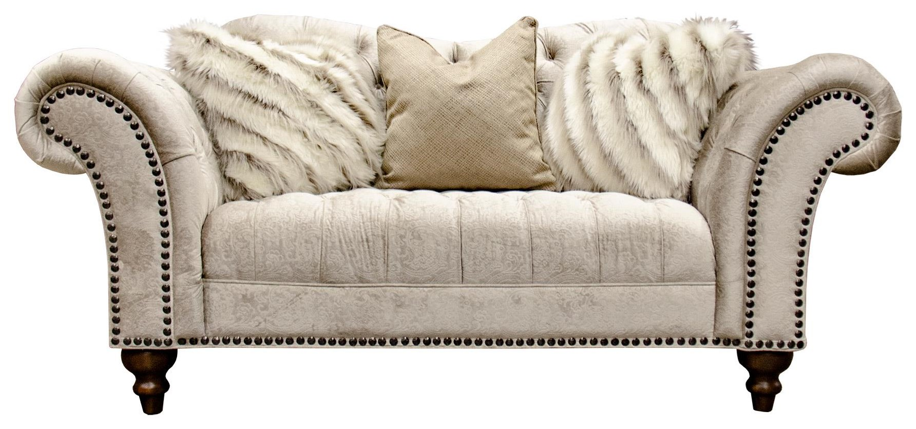 Sand Paisley Tufted Loveseat