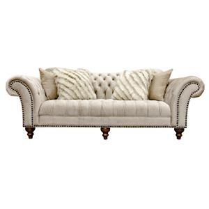 Sand Paisley Tufted Sofa