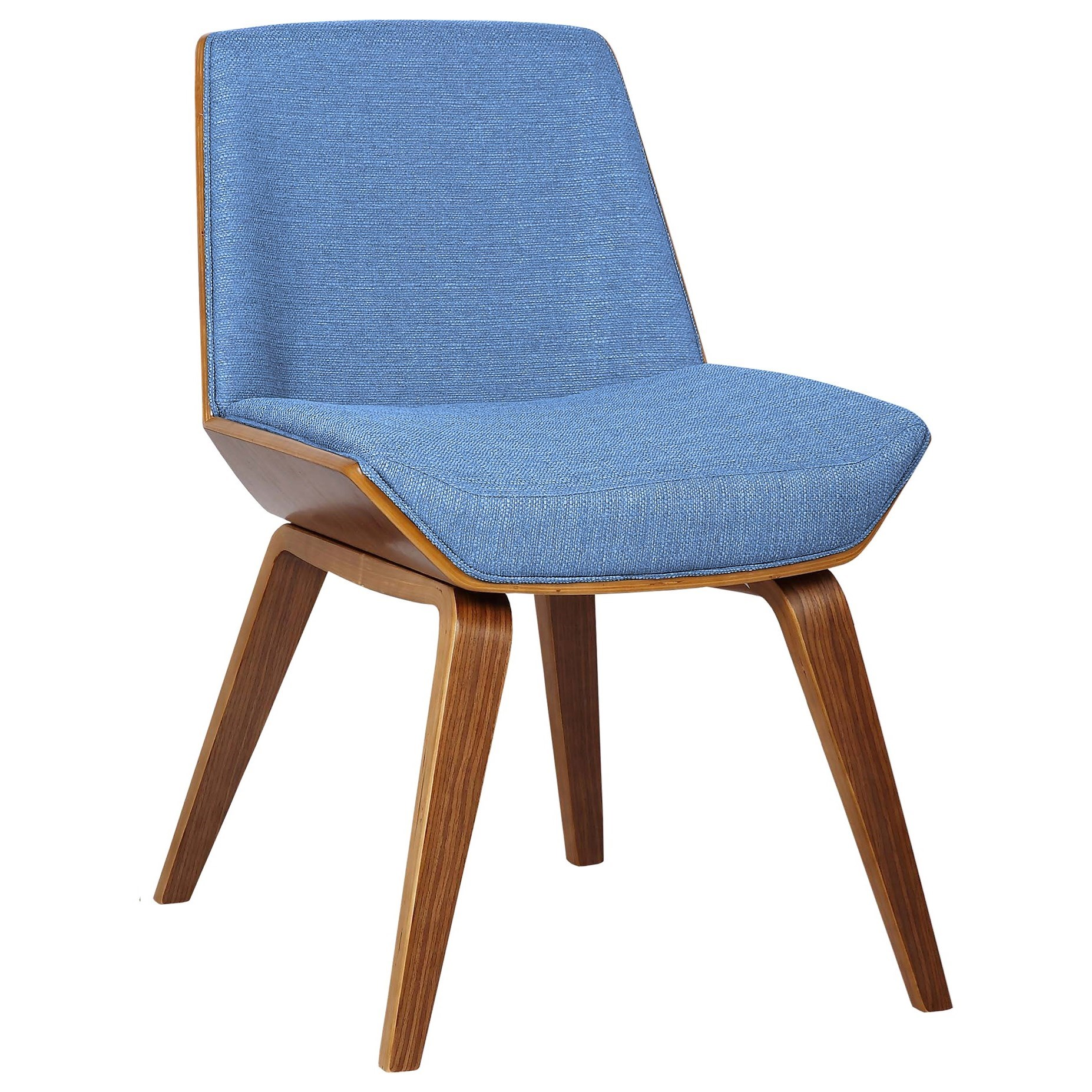 Mid-Century Side Chair in Blue Fabric