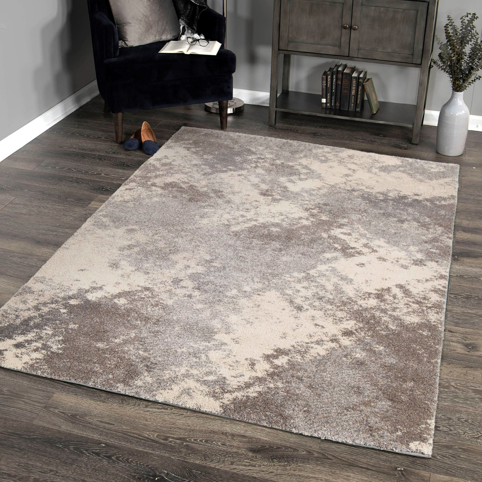 Accent Piece For Wall 5x8: Airhaven Contemporary 5x8 Area Rug In Cream/Grey