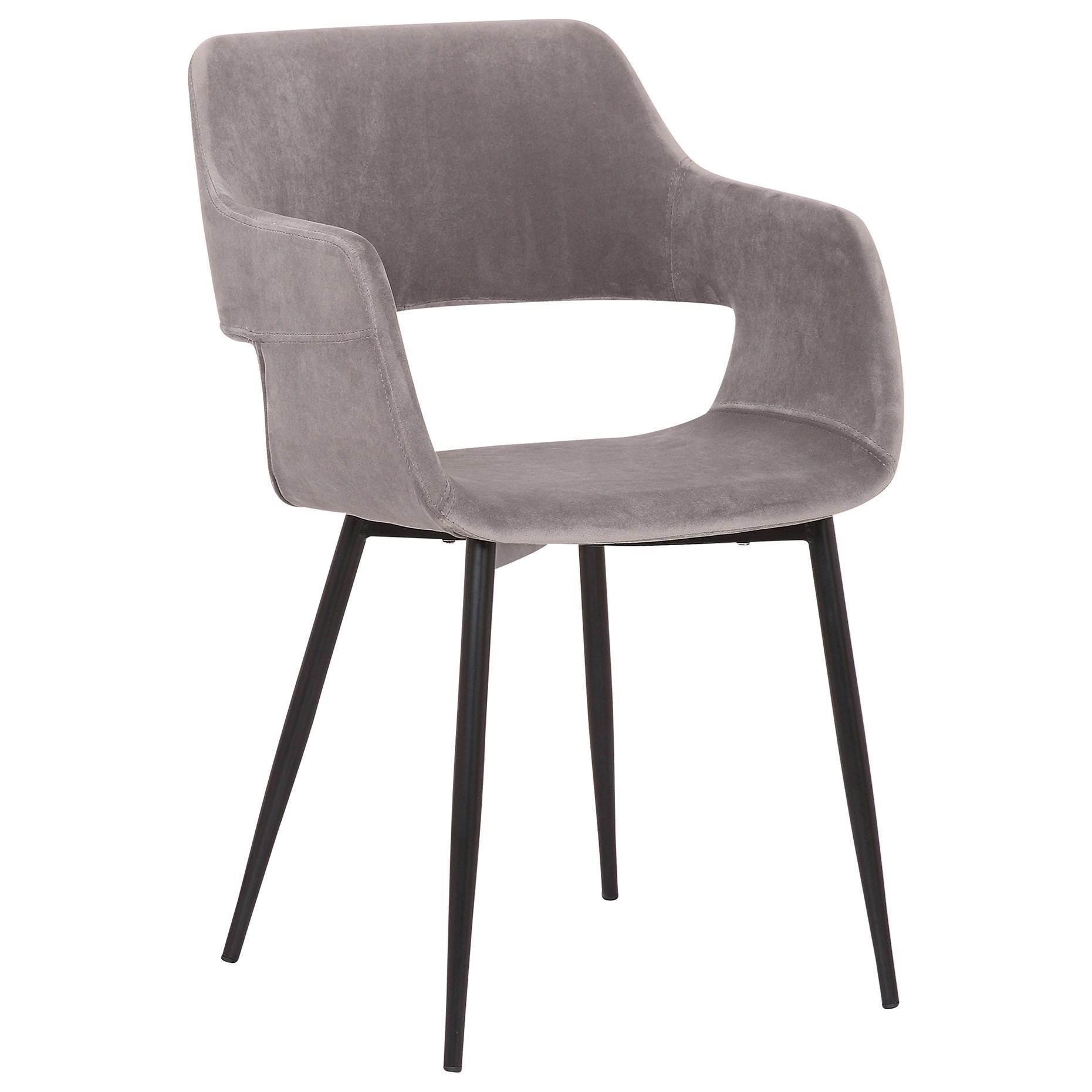 Ariana Mid-Century Grey Open Back Dining Chair by Armen Living at Fisher Home Furnishings