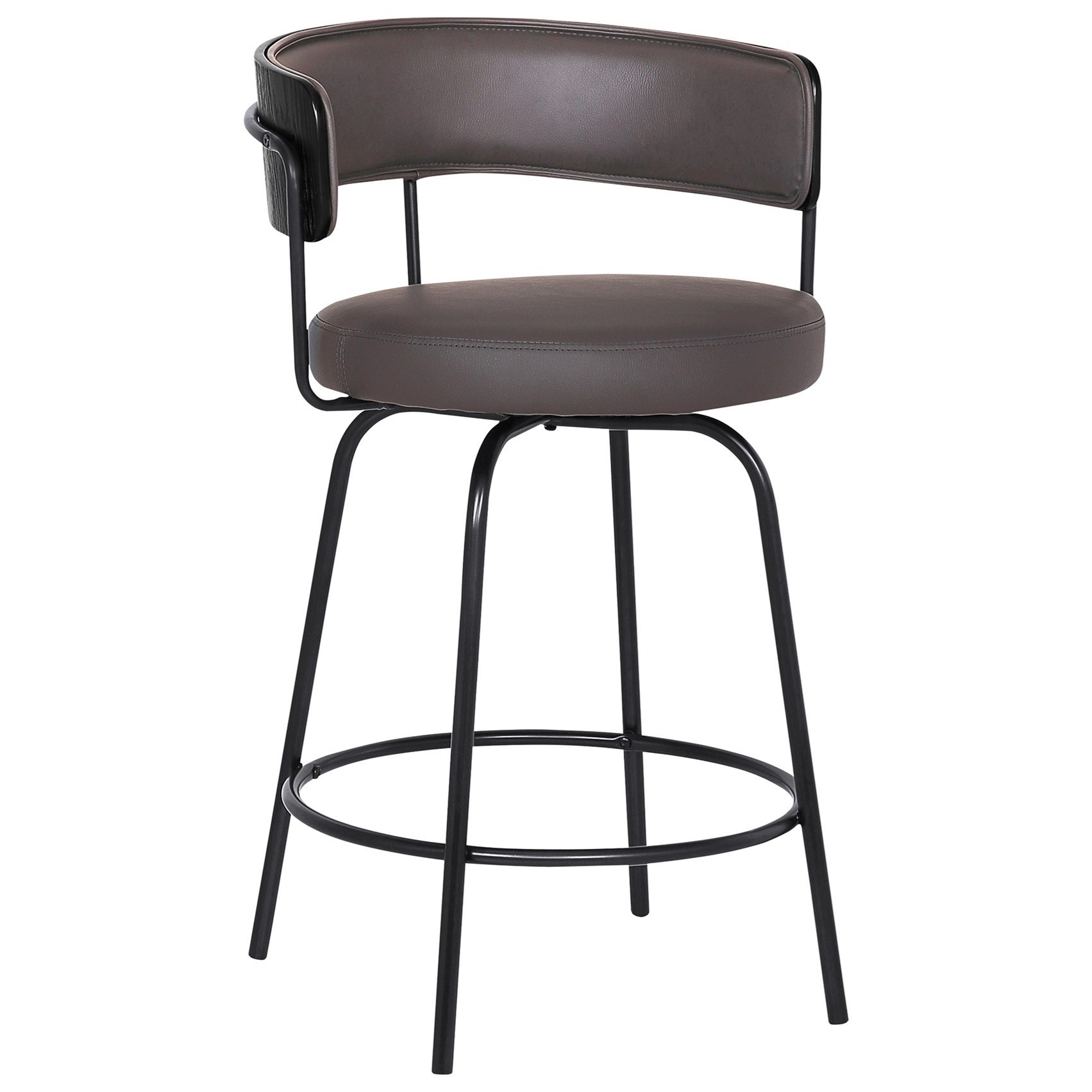 """26"""" Gray Faux Leather Swivel Barstool"""