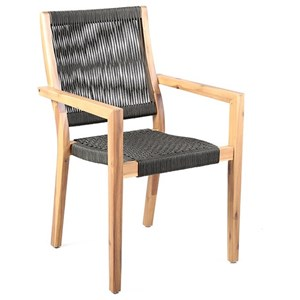 Outdoor Patio Charcoal Rope Arm Chair Set