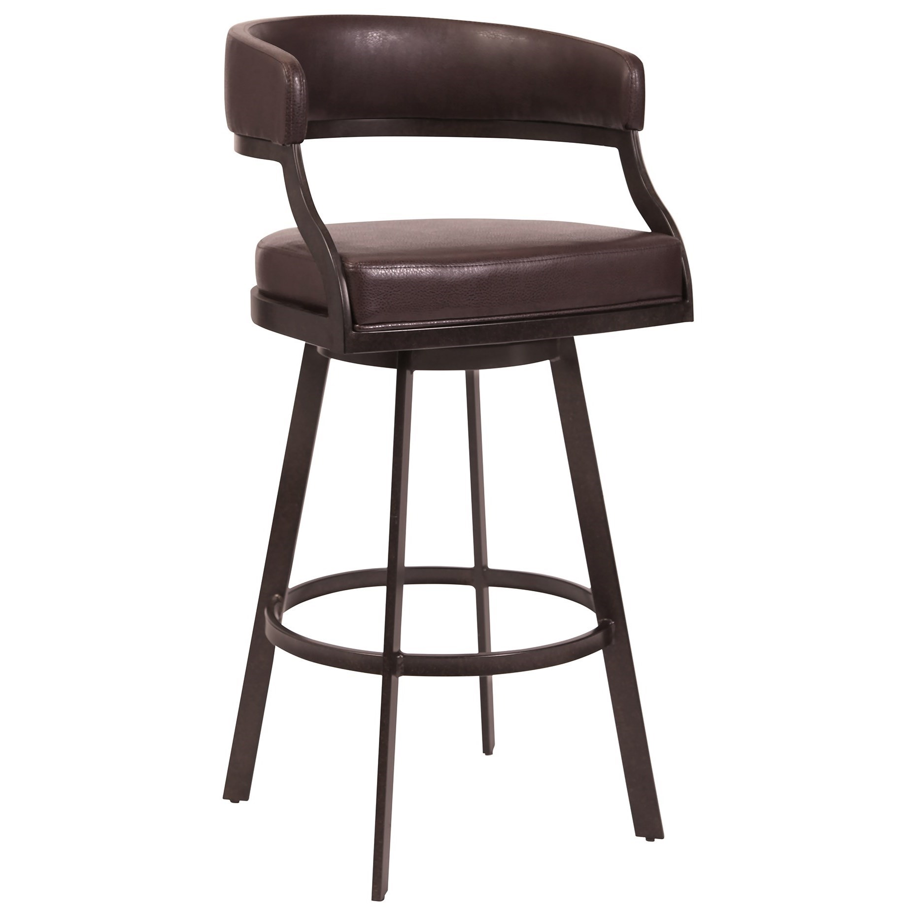 Armen Living Saturn Modern 30 Bar Height Barstool In Auburn Bay With Brown Faux Leather Darvin Furniture Bar Stools