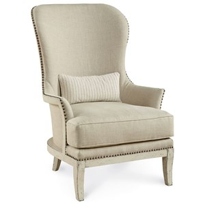 Exposed Wood-Back Accent Chair - Canvas