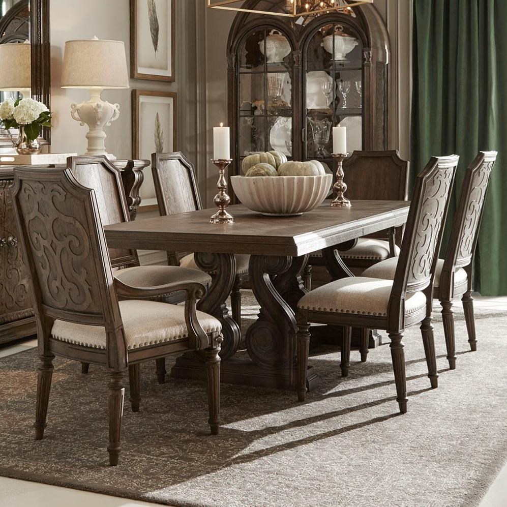 A R T Furniture Inc Vintage Salvage 7 Piece Rectangular Dining Table Set Dream Home Interiors Dining 7 Or More Piece Sets