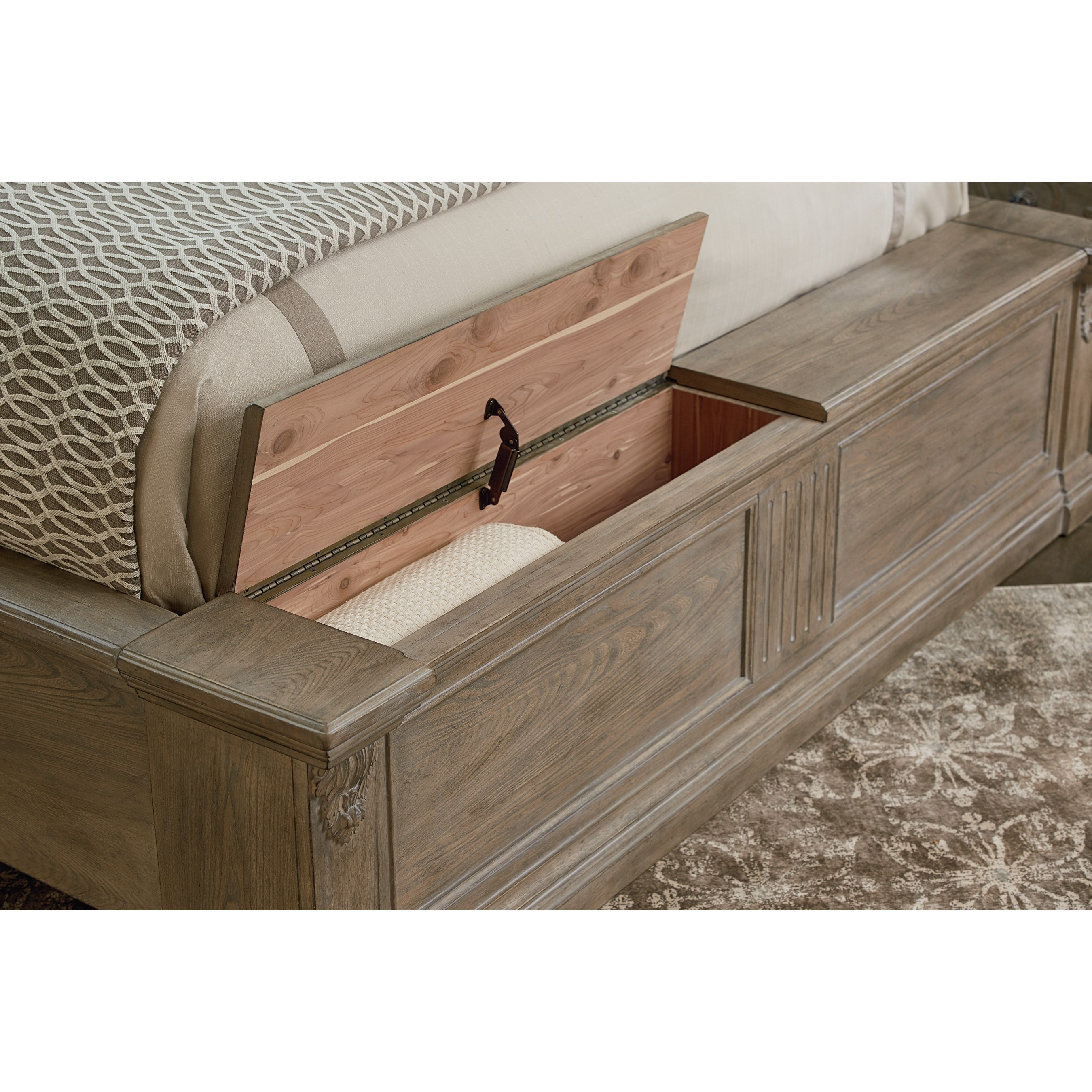 Arch Salvage Queen Chambers Panel Bed With Storage Bench