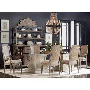 Markor Furniture Arch Salvage 7-Piece Rectangular Dining Table Set