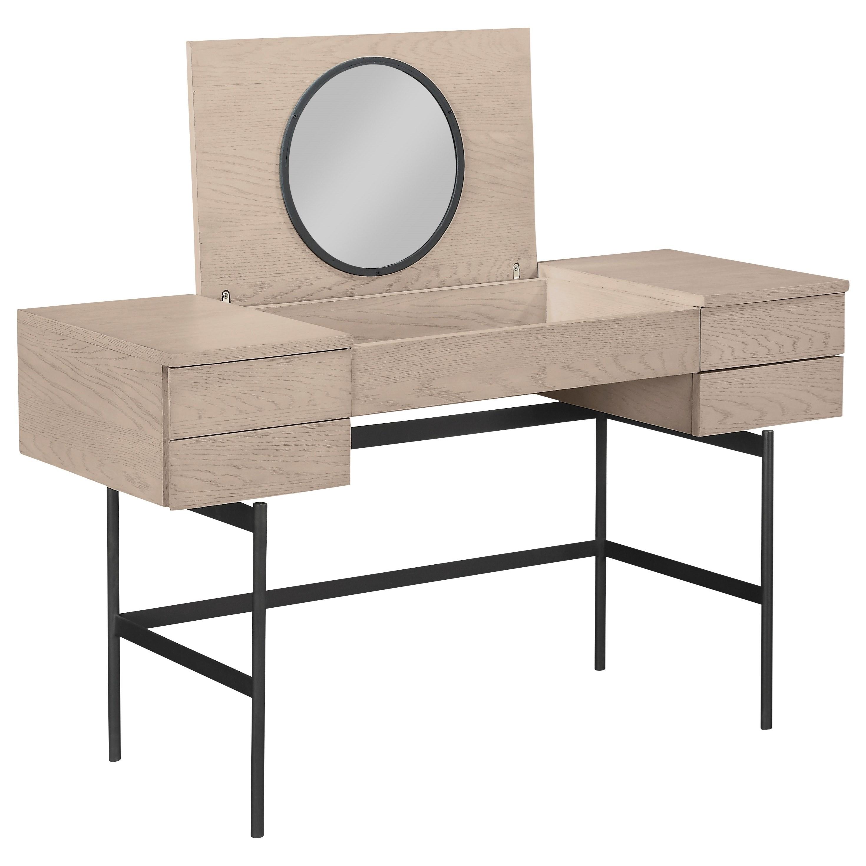 A R T Furniture Inc Bobby Berk Mid Century Modern Anja Vanity Desk With Flip Up Mirror Dream Home Interiors Vanities Vanity Sets