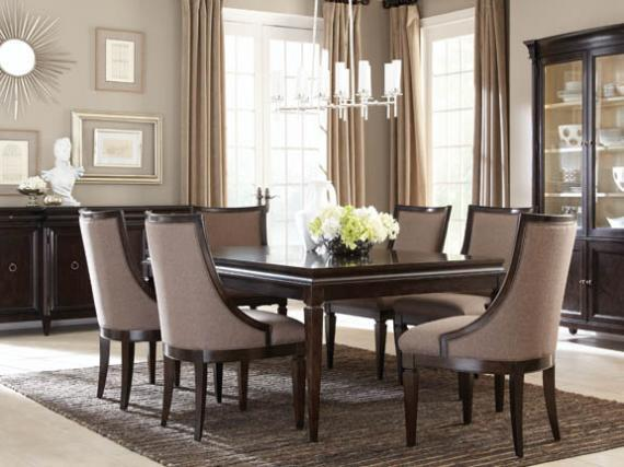 A.R.T. Furniture Inc Classic 7 Piece Leg Dining Table Set With Upholstered  Sling Chairs