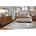 A.R.T. Furniture Inc Continental King Upholstered Shelter Bed with Button-Tufting