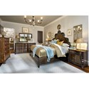 A.R.T. Furniture Inc Continental Queen Panel Bed with Tall Carved Headboard