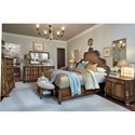 A.R.T. Furniture Inc Continental Cal King Panel Bed with Tall Carved Headboard