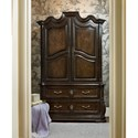 Markor Furniture Continental Traditional Armoire with Serpentine Shaped Top