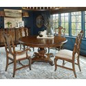"A.R.T. Furniture Inc Continental 5-Piece 66"" Round Dining Table Set - Item Number: 237225-2624+2x237203+2x237202"