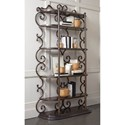 A.R.T. Furniture Inc Continental Etagere with Wood Shelves & Ornate Scrolled Metal Frame