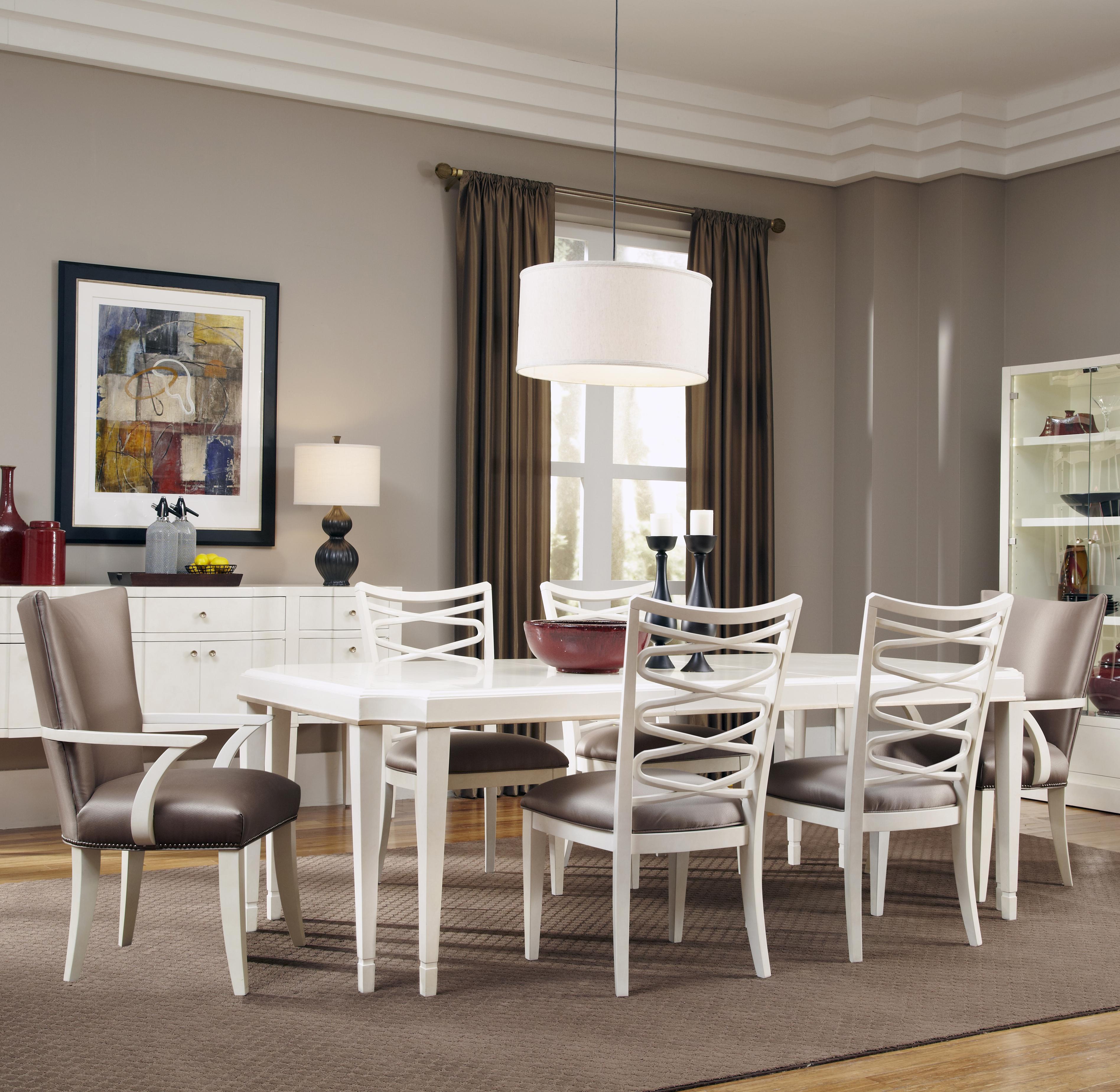 Belfort Signature Magellan 7-Piece Leg Dining Table Set - Item Number: 208220-1817+2x208207+4x208204
