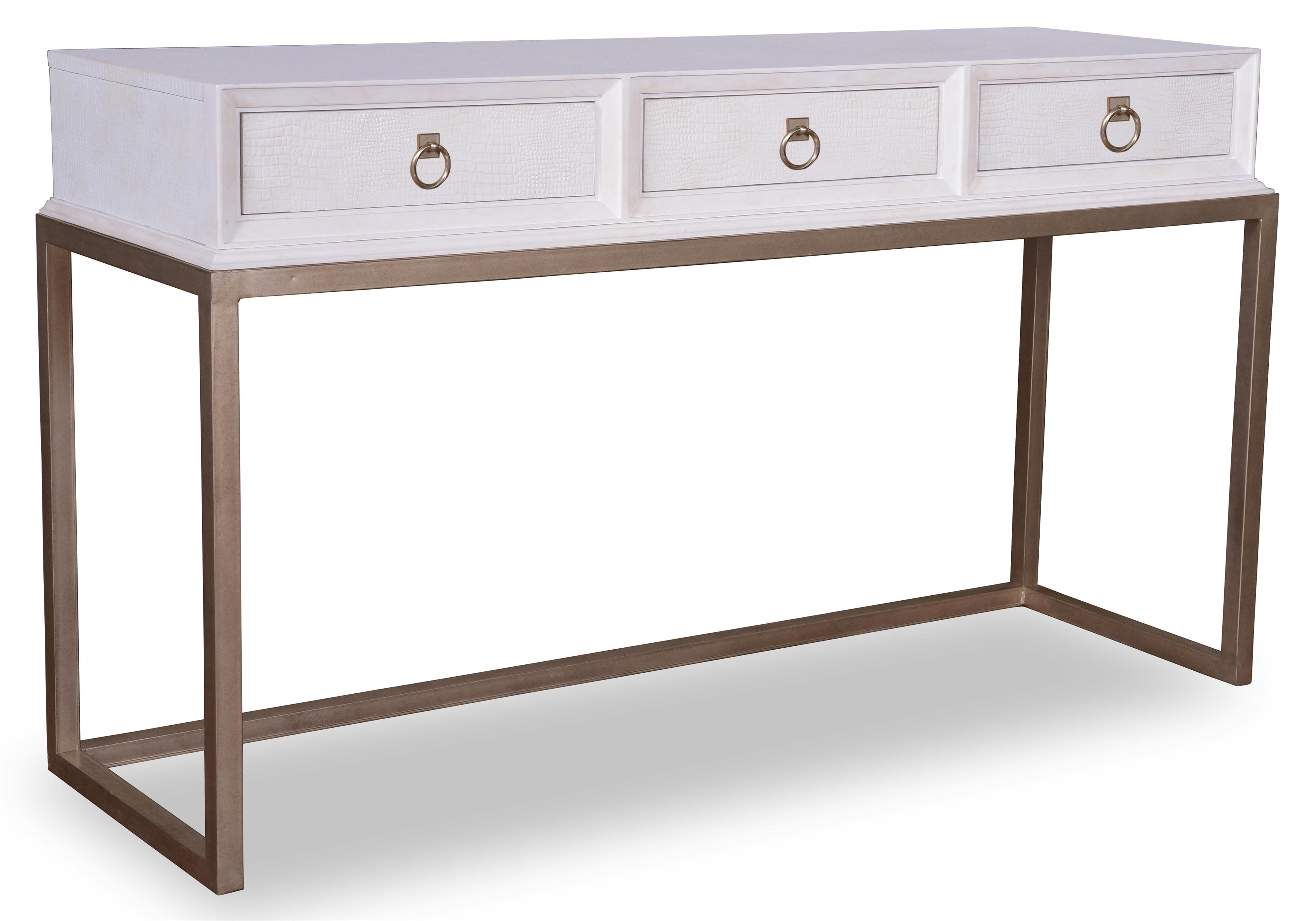 A R T Furniture Inc Cosmopolitan Console Table With Faux Crocodile Embossed Leather Metal