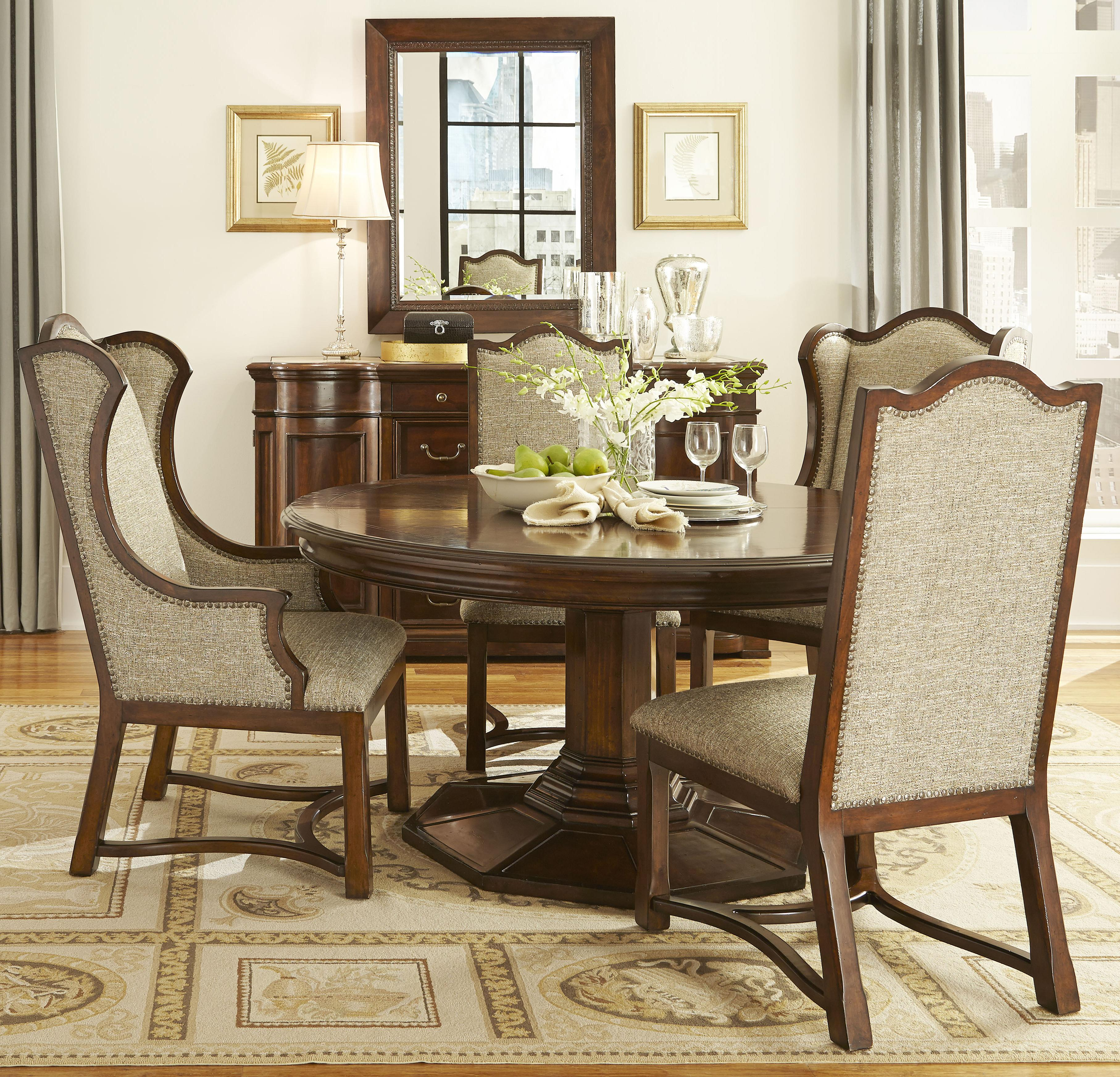 Belfort Signature Edwards Ferry 5 Piece Round Dining Table Set - Item Number: 210225-2106BS+TP+2x207+2x206