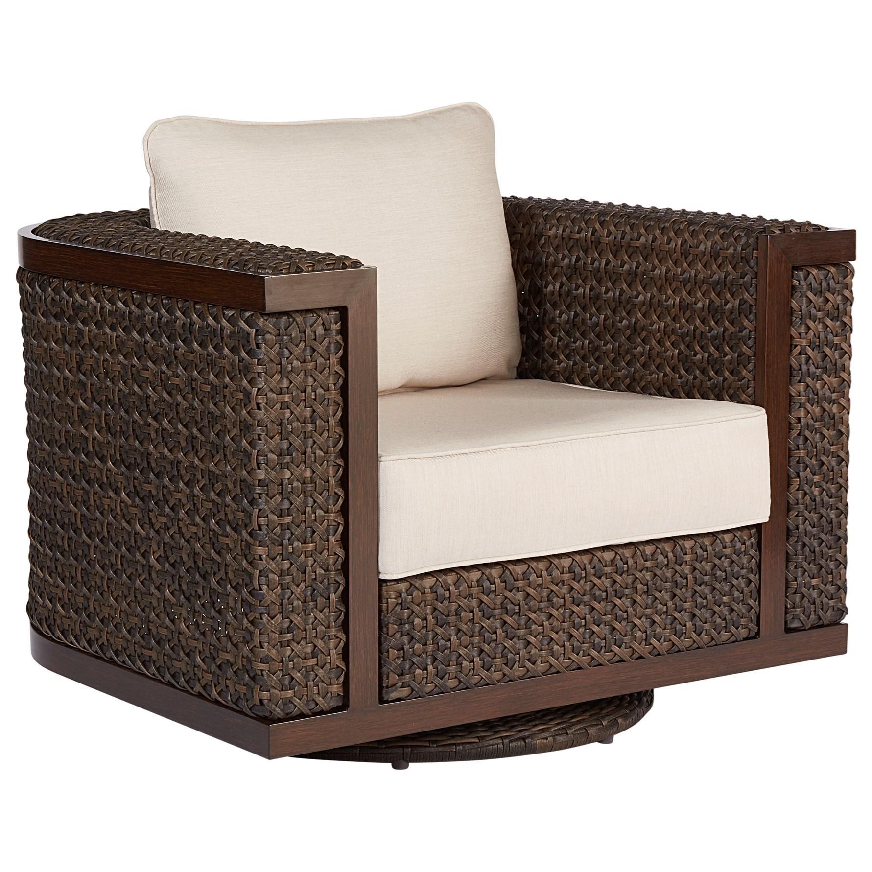 Wicker Swivel Rocking Club Chair