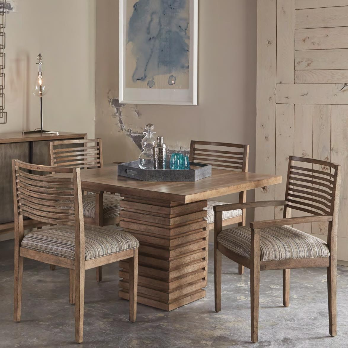 Belfort Signature Urban Treasures 5-Piece Shaw Pedestal Dining Table Set - Item Number: 223222-2302+2x223205+2x223204