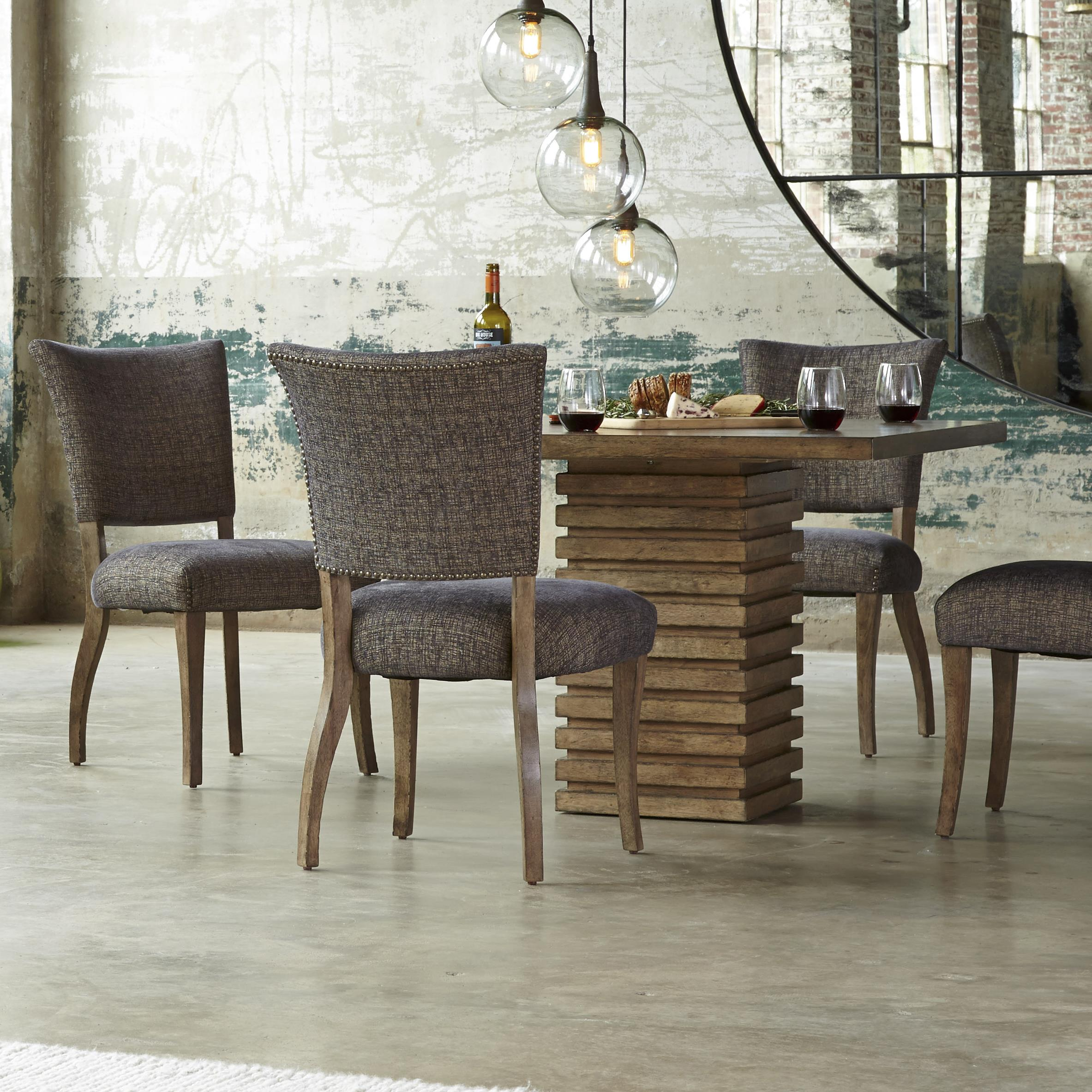 Belfort Signature Urban Treasures 5-Piece Shaw Pedestal Dining Table Set - Item Number: 223222-2302+4x223202