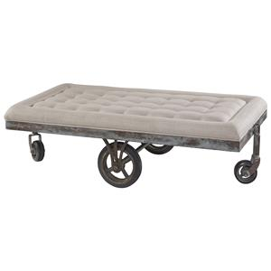 Belfort Signature Urban Treasures Shaw Upholstered Factory Cart Cocktail Table
