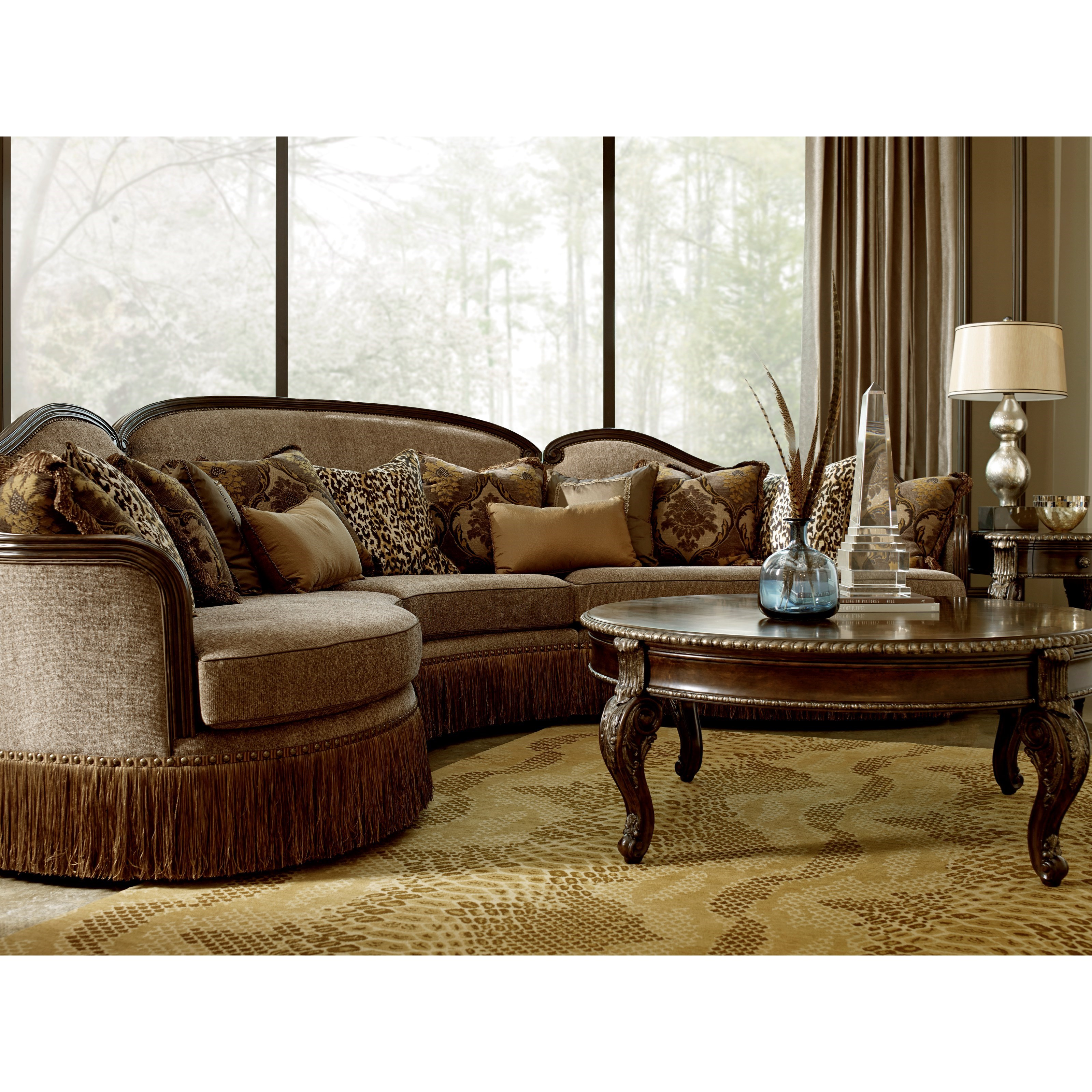 Chenille Skirted Sofa: A.R.T. Furniture Inc Giovanna Traditional 3-Piece Curved